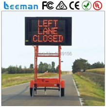 Leeman Solar traffic VMS LED sign trailer LED Full Matrix Trailer Mounted VMS With 12V Solar Power Supply