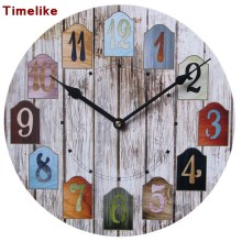 Unique Gift Antique Wall Clock Vintage MDF Wooden Wall Clock Big Size Home Decor Horloge Murale