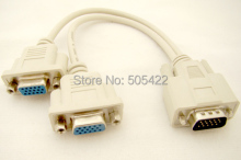 High Quality 1 To 2 VGA Monitor Y Splitter Cable 15 PIN Male to 2 Female Splitter Cable