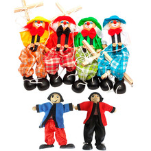 Pull String Puppet Clown Marionette Toy Vintage Kids Puppet Clown Wooden Marionette Toy Joint Activity Doll for Children