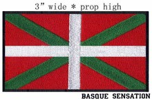 "Basque Flag Spain embroidery patch 3"" wide shipping/six white part candy colors/three colors and black border(China)"
