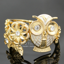 Gold & White Greek Athena Wisdom Owl Flower Leaf Hinged Bracelet Bangle Cuff Jewelry 2017 New