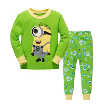 "Autumn Boys Girls ""Minions"" 2 Piece Pajama Set 100% Cotton Children Pajamas For Boys Christmas PJs Kids Clothes Size 2-7 Year(China)"