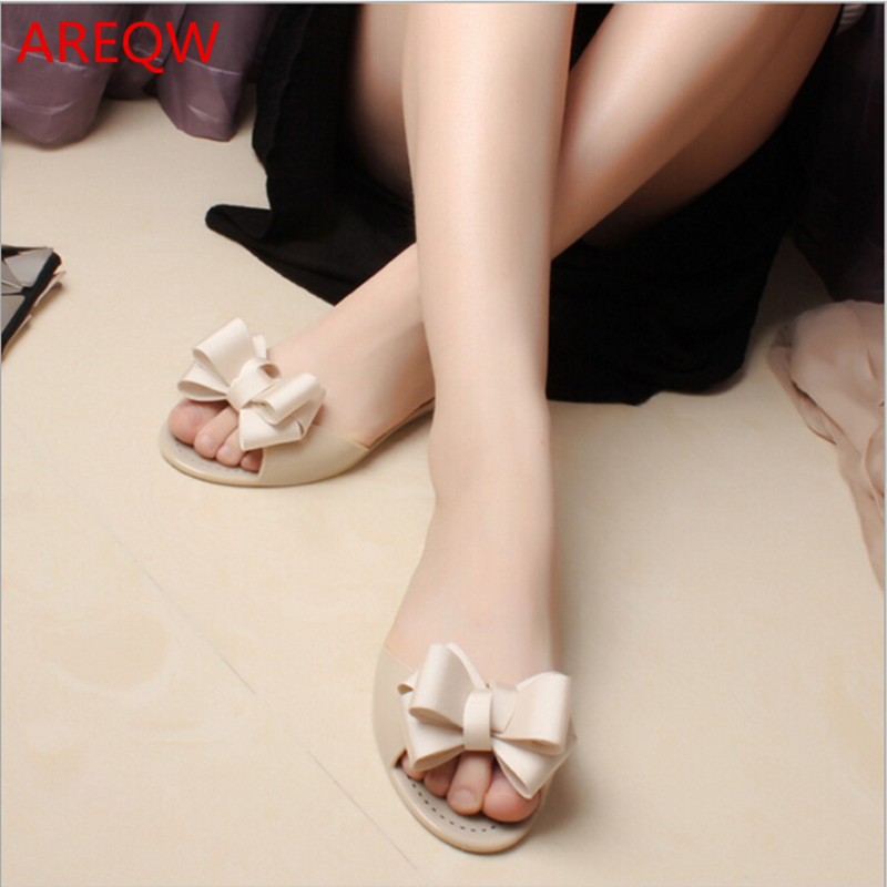AREQW 2017 summer new butterfly fruit jelly shoes female flat bottom fish mouth sandals Korean sandals <br><br>Aliexpress