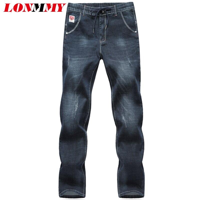 LONMMY PLUS SIZE 5XL 6XL Denim overalls men trousers 65% cotton Skinny jeans men Elastic Waist Casual pants 2017 Autumn WinterÎäåæäà è àêñåññóàðû<br><br>