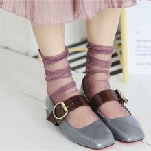 1Pair 2017 Hot Fashion Sexy Women Lady Girl Summer Glitter Mesh Ankle Socks Soft Elasticity Gauze Fishnet Socks(China)