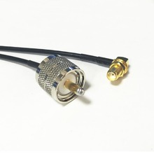 "New UHF Male Plug PL259 Switch SMA Female Jack  nut  Right  Angle pigtail cable RG174  Wholesale 20CM 8"" Adapter"