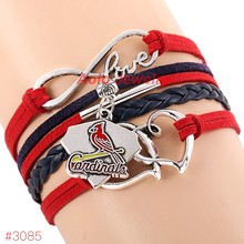 MLB Infinity Love St. Louis Cardinals Baseball Team Bracelet 2016 New Leather Bracelet Fans Jewelry 6Pcs/Lot ! Free Shipping!
