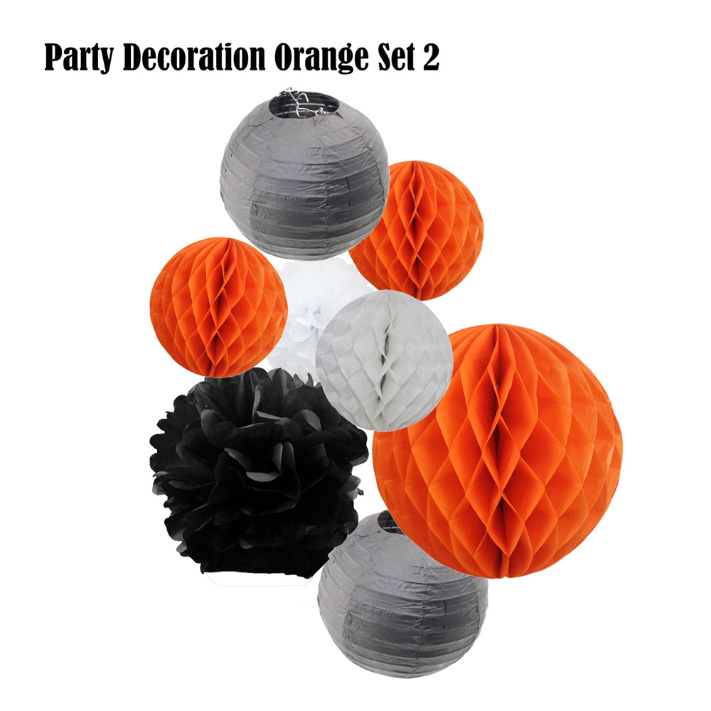 8pcs Orange Set Paper Crafts Halloween Party Supplier Tiffany