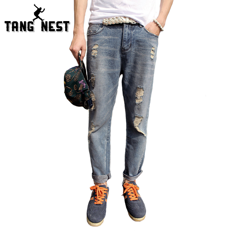 Mens Jeans 2017 New Trend Hole Spring Fashion Casual  Washed Zipper FlyLoose Blue Pockets Size 28-33 Men Jeans MKN487Одежда и ак�е��уары<br><br><br>Aliexpress