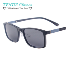 Men Women TR90 Lightweight Rectangle Fashion Driving Polarized Prescription Sunglasses For Myopia Progressive Lenses(China)