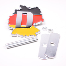YAQUICKA 3D Metal Germany Flag Emblem Front Hood Grill Grille Badge For Audi Mercedes for porsche BMW Volkswagen etc Car Styling(China)