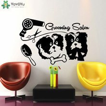 Pet Shop Salon Wall Decal Dog Bones Hair Dryer Comb Scissors Art Mural Dogs Grooming Salon Wall Sticker Family Vinyl DecorSYY289