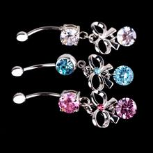 Medical Stainless Steel Umbilical Zircon Belly Button Ring Charming Body Piercing Jewelry Accessories(China)