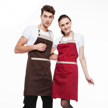 Hanging neck apron home kitchen cooking men and women restaurant super market coffee tea shop work apron free print logo