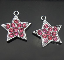 Free Shipping! 50PCS Rhinestone Hot Pink Five-Pointed Star Hang Pendants Hang Charms DIY Phone Strips, Collar Tags, Necklaces