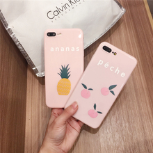 Pink girl style Cute Summer ananas fruit phone Case For IPhone 6 6S plus 7 7Plus cute fruit peche Delicious soft cases Coque