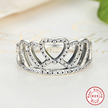 925 Sterling Silver Hearts Tiara, Clear CZ Women Finger Ring Compatible with Original Jewelry,s925 silver crown rings for women