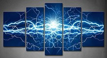 5 Panels Blue Electric Lighting Effect Abstract Dark Blue Painting Print On Canvas Abstract Picture Modern Painting