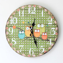 2015 Living Room Clocks New Arrive Zakka Style Owl Painted Wood Electronic Wall Clock Round Quartz Watch For Home Decoration