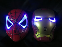 Halloween Hoilday Cosplay Mask Spider Man Mask With Led light Children Festival Iron Man mask for Masquerade Party red color