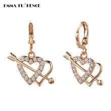 Drop Earrings Popular Heart Zirconia Hot Girl Fashion Copper Alloy Crystal Earring Women Gold-color New Earring Party Jewelry