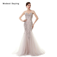 Luxury New Mermaid Beaded Lace Cover Evening Dresses 2017 with Rhinestone Formal Women Party Red Carpet Prom Gowns vestido longo