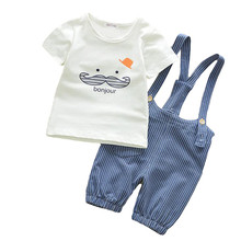 Children's Clothing Summer Kids Boys Clothes Casual T-shirt + overalls 2pcs Sports Suit Baby Boy Outfits Baby Boy Clothes Sets(China)