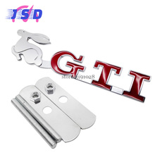 Car Styling 3D Auto Front Hood Grille Emblem for GTI Rabbit Logo for VW Passat Golf rabbit Jetta POLO sharan touran Lavida CC(China)