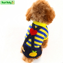 Yellow Rose Blue Dog Clothes Autumn Bear Belt Overall Striped XXS Pet Apparel For Puppy Animals Chihuahua Yorkshire Yorkie Cats(China)