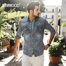 SIMWOOD Denim Casual Shirts Men 100% Pure Cotton 2017 New Arrival Autumn Winter Vintage Shirts Male Brand Clothing CS1572(China)