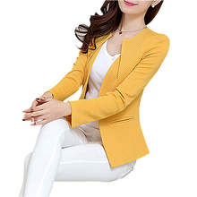 Buy Fashion Spring Women Slim Blazer feminino Coat Plus Size Casual Jacket Long Sleeve One Button Suit Yellow Lady Blazer Work Wear for $12.74 in AliExpress store