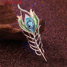 Charm Enamel Hair clip Peacock Feather Hairpin Wedding Hair Accessories Crystal Hair Sticks for Noble Women Hair Fork Jewelry(China)