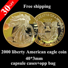 20pcs/lot United States of American eagle 100 mills gold plated no copy 2000 liberty metal coin free shipping(China)