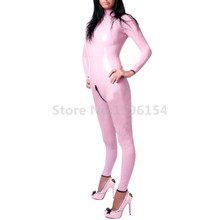 Buy Pink Latex Bodysuit Sexy Catsuit Zentai Costumes One Piece Plus Size Bodice LC242