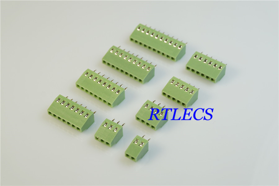 150V 2A PCB Mount Spring Terminal Block 2 3 4 5 6 Pin 2.54mm Pitch Connector