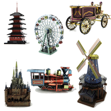 Colorful 3D Metal Puzzle Japan Tower Puzzles DIY 3D Metal Jigsaw Gauss Rifle Adult Toys Taipei 101 Windmill Us Capitol
