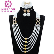 2017 Latest New Fashion Write Beads Jewelry Sets 8 Shaped Gold Accessory Wedding Party Women Jewel Set Mother's Day Gift ABH394(China)