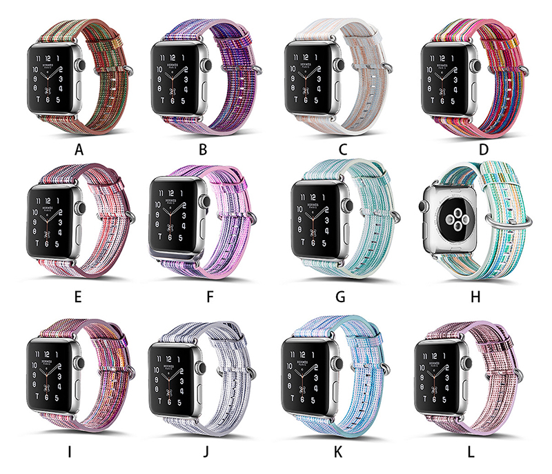 Watch-Band-for-Apple-Watch-38-42mm-Series-1-2-3-PU-Leather-Rainbow-Striped-Colorful