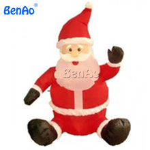 X130 Free shipping + LED Light Santa Claus Inflatable Christmas Decoration/Lows outdoor inflatable christmas sitting santa claus(China)