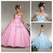 Cheap Price! Quniceanera Dresses Appliques Handmade with Jacket Ball Gown Debutante Girl Pageant Dress to Party Sweet 16 Vestido