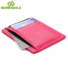 Women 2017 RFID Slim Genuine Leather Credit Card Holder Case Mini Wallet Casual Travel Small Card Men Wallets with Clear Window