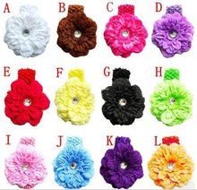 100pcs Children's Crochet headband peony Hair clip hair barrettes peony hair bands High quality