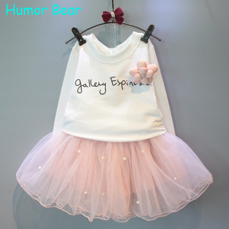 Humor Bear Baby Girl Clothes New Spring And Autumn Long Sleeve T-Shirt + Pink Elegant Princess Dress Kids Clothes Girls Clothing<br><br>Aliexpress