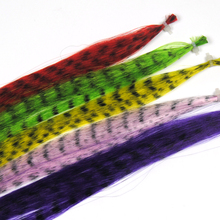 10pcs Assorted Color Synthetic Grizzly Fibre / Fiber Fly Tying Material Buck Tail Streamers Saltwater Flies Pink Green Yellow(China)