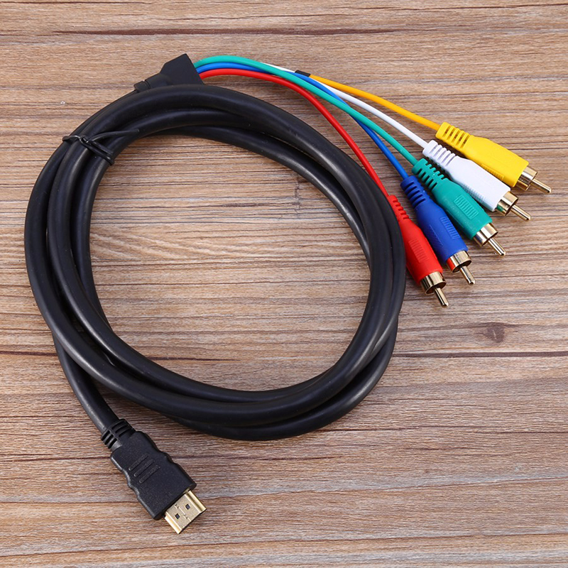 2017 NEW HDMI Cable 1.5M 5ft HDMI to 5RCA Male Audio Video Component Convert Cable For HDTV 1080P Multicolor Video Cables(China (Mainland))