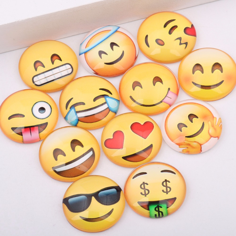 reidgaller handmade mixed smiley face round dome glass emoji cabochons 12mm 14mm 18mm 20mm diy earrings bracelet findings