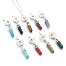 18mm Snap Button Jewelry Bohemian Vintage Green Necklaces & Pendants Natural Stone Necklace 60CM Long Necklace 8706