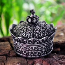 Free Shipping - Fashion Metal Jewelry Case trinket box Vintage Carved Crown Design Tin-alloy Box