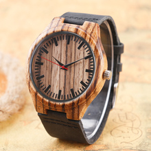 New Arrival Creative Nature Wood Made Wrist Watch with Genuine Leather Band Strap Bamboo Watches For Men
